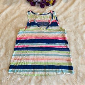 Lilly Pulitzer Striped Cotton V-Neck Tank Sz M